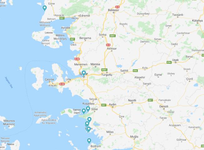 Aegean caravan route map